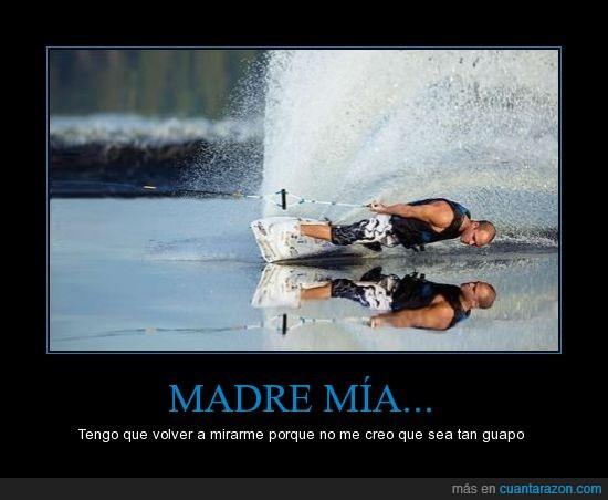 esquí acuático,lago,mirar,reflejo,wave board