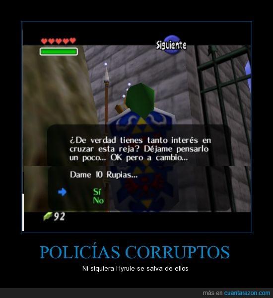 corruptos,link,ocarina,oot,pagar,policias,puente,reja,rupias,soldados,tloz,zelda