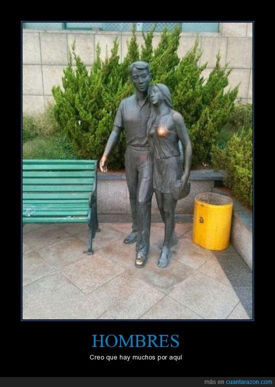 desgaste,estatua,hombres,pecho,tocar