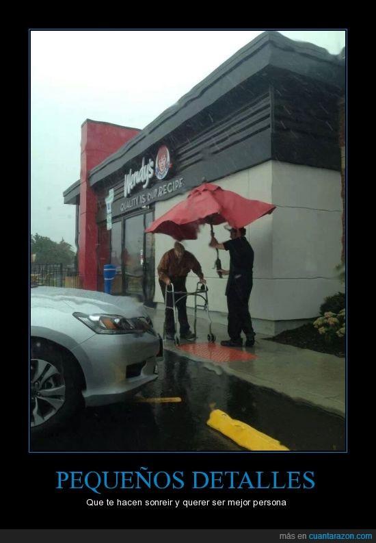 andador,buena acción,hay esperanza,lluvia,mayor,mundo mejor,paraguas,respeto,señor,tacataca,tapar,trabajador,wendy's