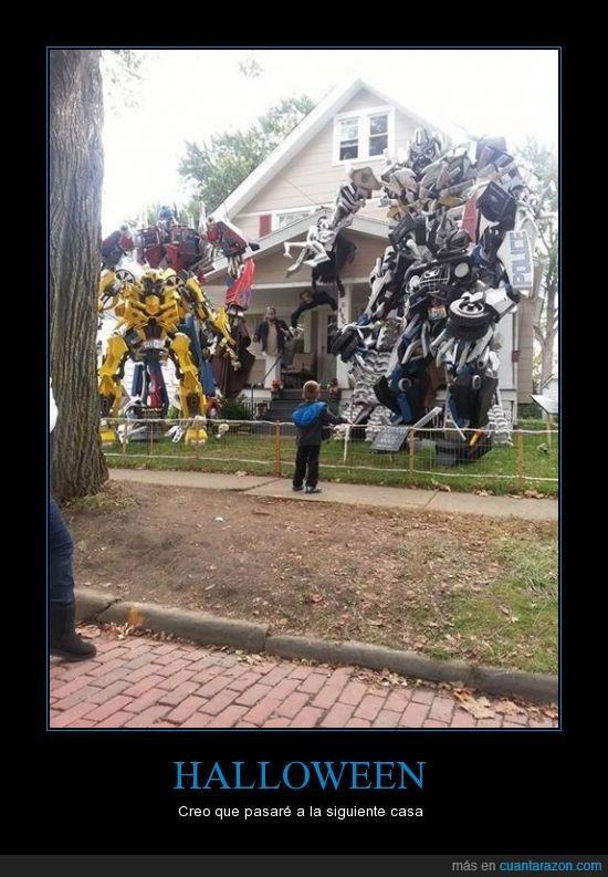 casa,halloweeen,niño,pasar,transformers