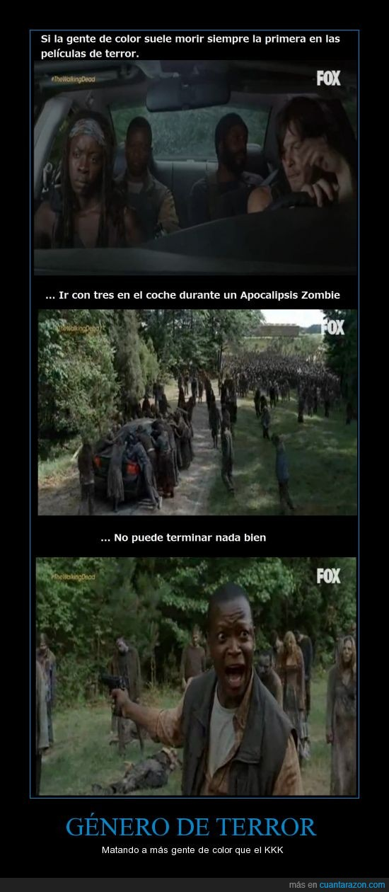 el KKK es una filial del KFC,Gente de color,perdon por el Spoiler,The Walking Dead,Zombies