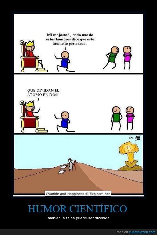 átomos,bomba atómica,chiste,cyanide and happiness,época mediaval,humor científico
