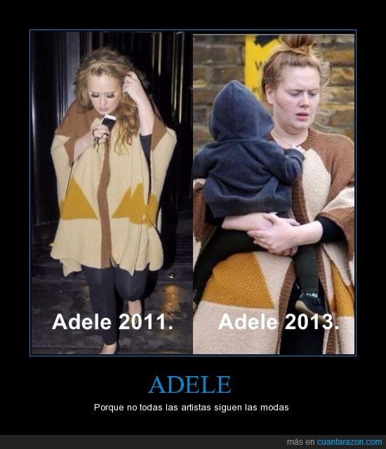 Adele,hijo,maquillaje,misma ropa,moda,pintas de recien levantada,poncho