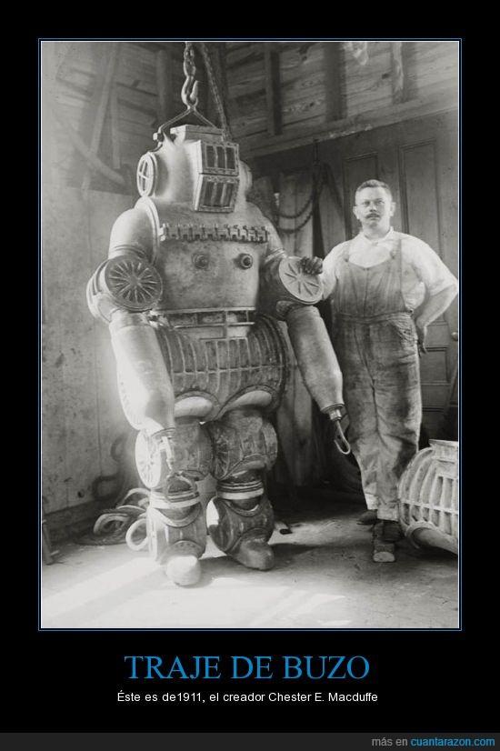 antiguo,chester e. macduffe,traje de buzo