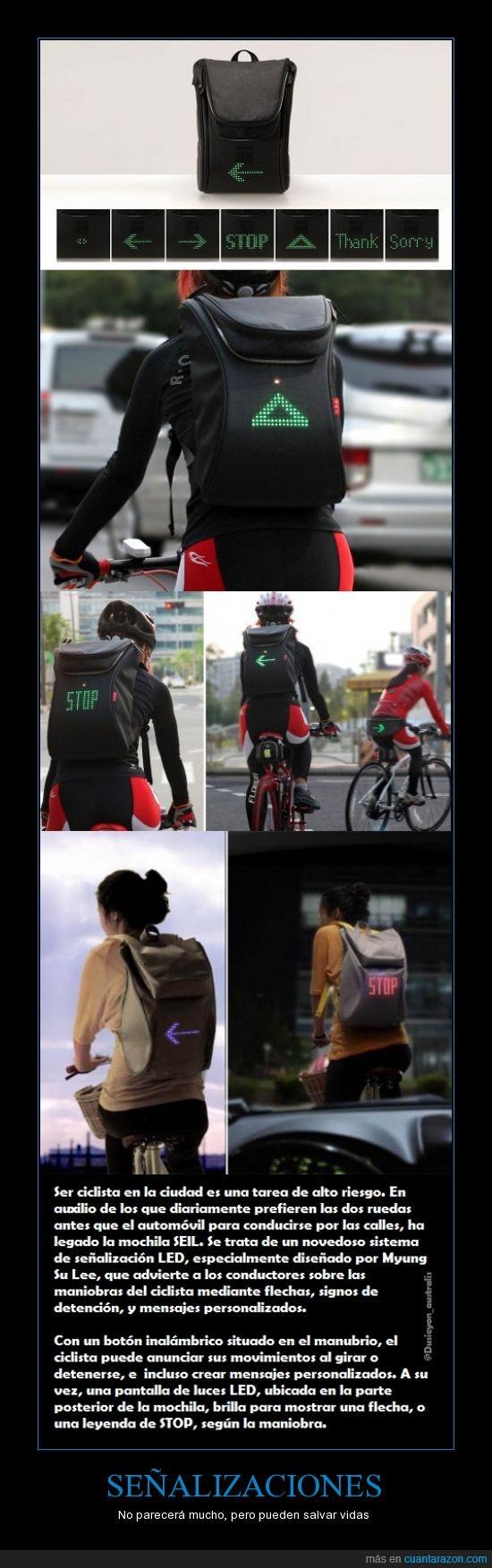 bicicleta,flechas,mochila,Señas,vial,vidas