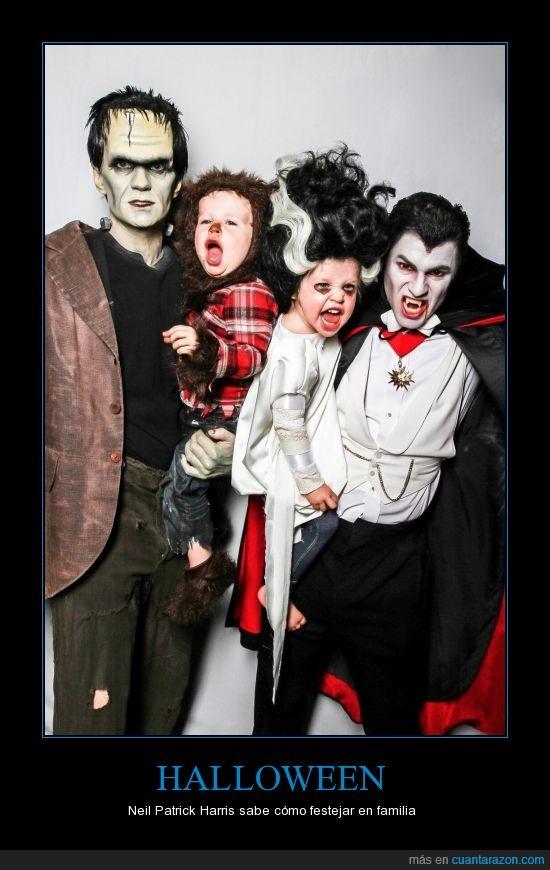 disfraz,familia,frankenstein,halloween,neil patrick harris,vampiro