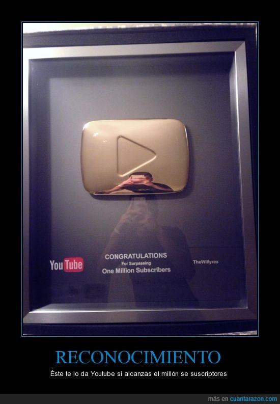 dorado,millón,placa,premio,suscriptores,thewillyrex,youtube