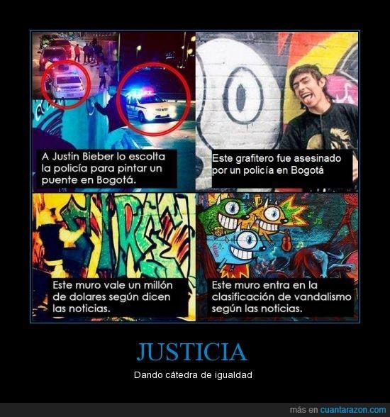 colombia,graffiti,justicia jaja no conozco ese pokemón,justin bieber pinta grafiti escoltado y totalmente ilegal,matar