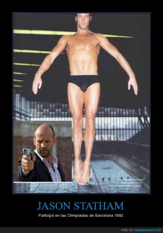 Jason Statham,piscina,saltador olimpico,trampolín