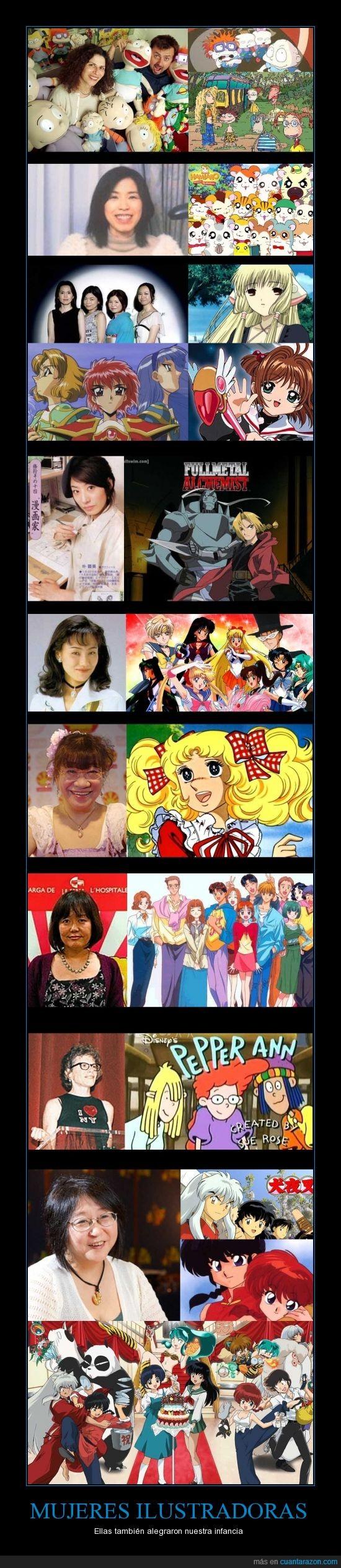 candy candy,chobits,fullmetal alchemist,hamtaro,ilustradoras,inuyasha,las guerreras mágicas,marmalade boy,mujeres,pepper ann,ranma,rugrats,sailor moon,sakura,thornberrys
