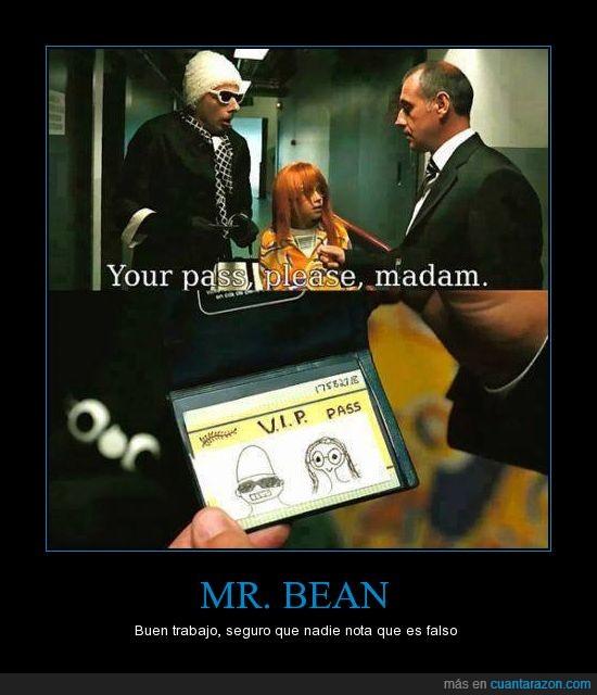 dibujo,estrategia,importante,mr bean,niña,pase,vip
