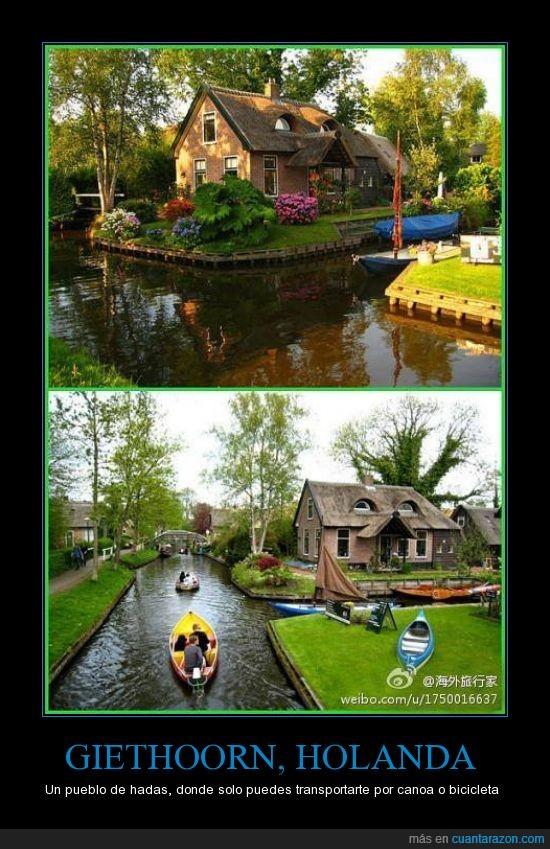 bicicleta,canoa,hadas,holanda,pueblo