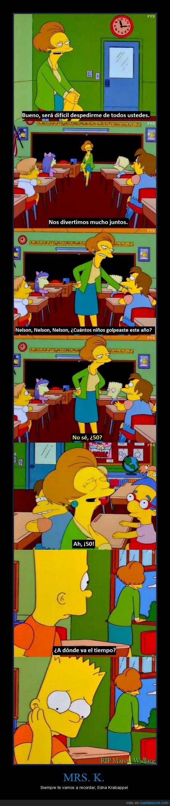 Bart Simpson,Edna Krabappel,Edna se despide de sus alumnos,Los Simpsons,Marcia Wallace,Mrs. K,te extrañaremos,The Simpson