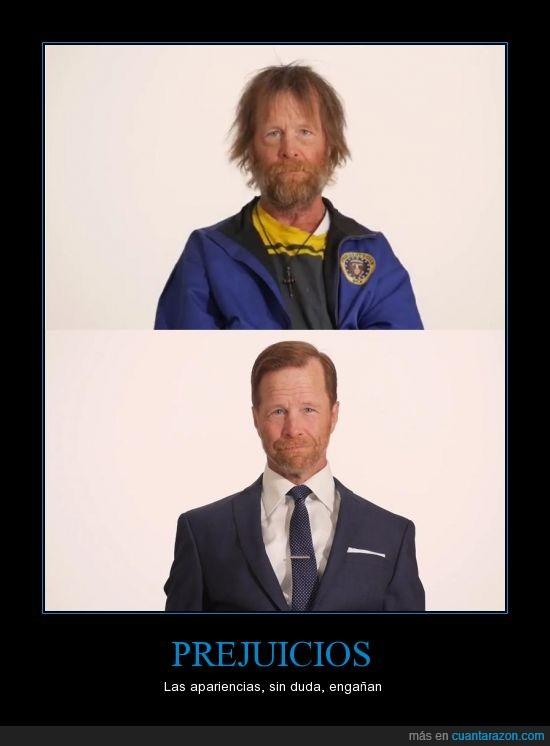 ahora le va genial,barba,ex-militar,indigente,las apariencias engañan,pelo,rehabilitado,ropa,traje