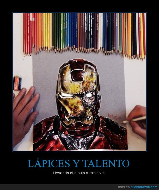 arte,brillo,colores,iron,lapices,man,nivel,talento,tony