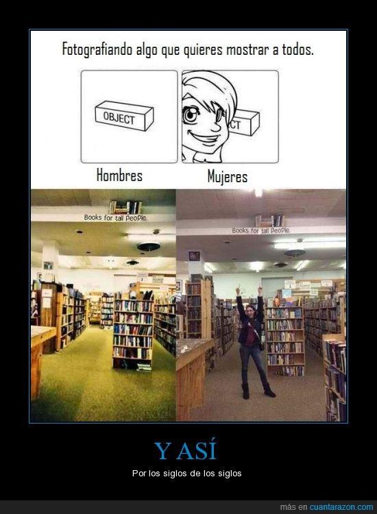 alta,chica,chico,enseñar,estanteria,foto,gente,hombre,libreria,libro,mujer