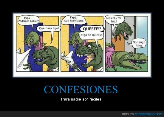 Confesion,Dinosaurio,Herbivoro,Hijo,Padre,Salir del closet en la prehistoria,T-Rex