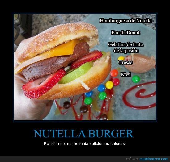 donut,fresa. gelatina,fruta de la pasion,hamburguesa,nutella