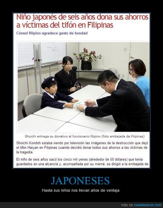 ahorros,dinero,donacion,donar,filipinas,Japón,niño,Shoichi,tifon,yenes