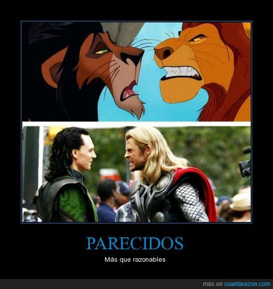 El rey leon,Loki,Mufasa,Parecidos,Razonables,Scar,Thor