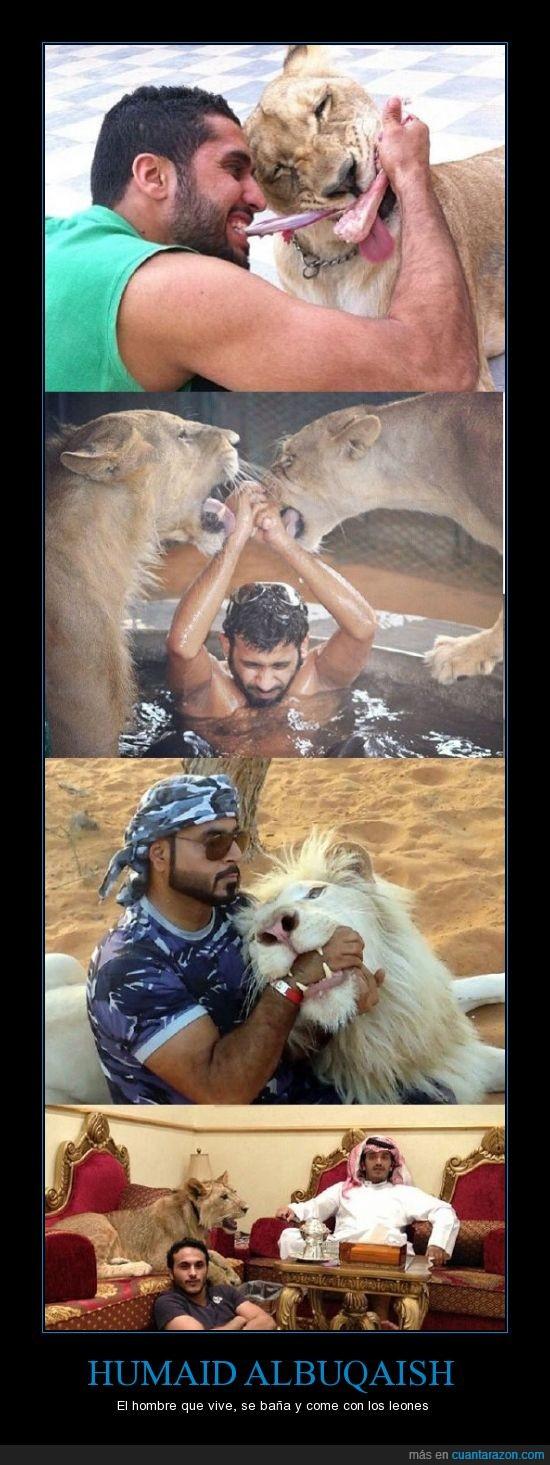 come,Humaid Albuqiash,leones,millonario,rico,se baña,se lo comeran,vive