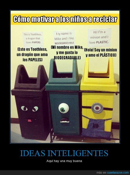 gato,mike,minion,papelera,plasticos,reciclar