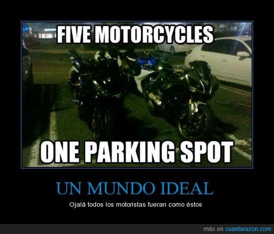 aparcar,ayudar,cinco,coches,gracias,juntas,menos,moto,ocupar,parking