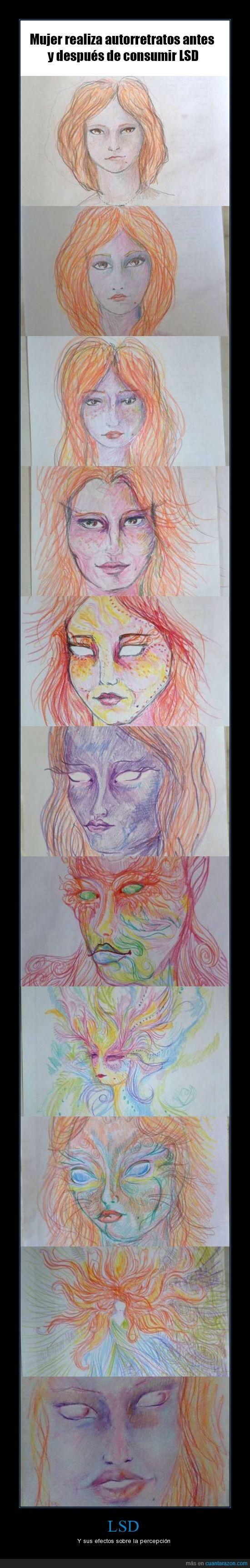 autoretratos,cara,dibujo,efectos,LSD,mujer,tiempo