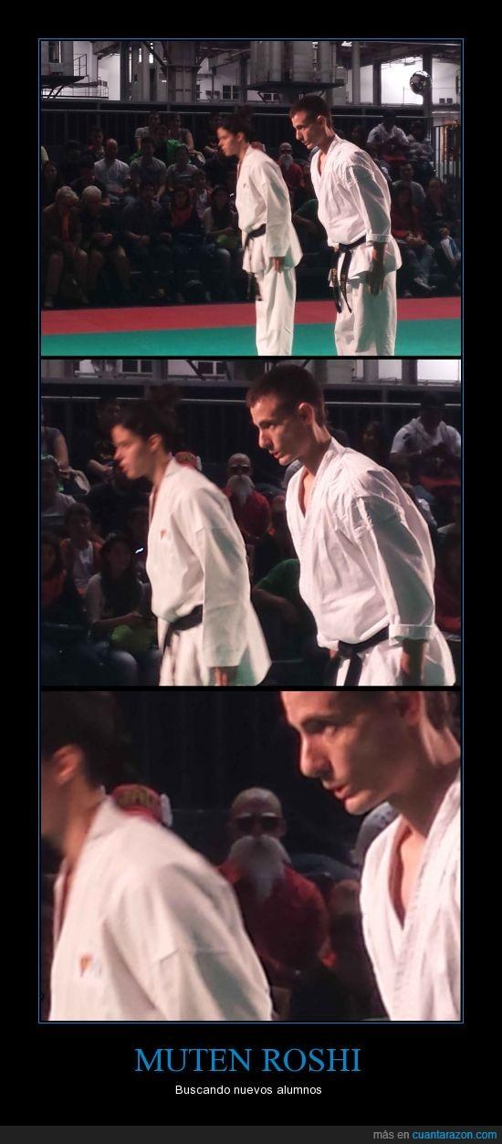 alumno,busca,fichar,karate,maestro muten roshi,ojeador,publico