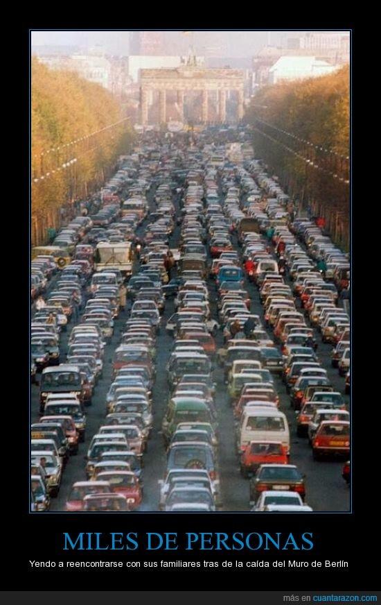 amor,atasco,berlin,caida,coches,encuentro,familia,gente,miles,muro
