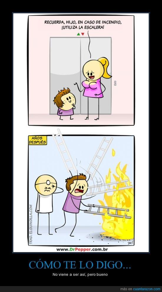 ascensor,consejo,consejo de madre,escalera,humor,incendio