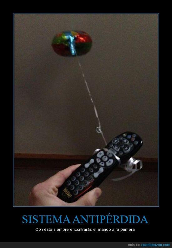 atar,flotar,globo,mando,television