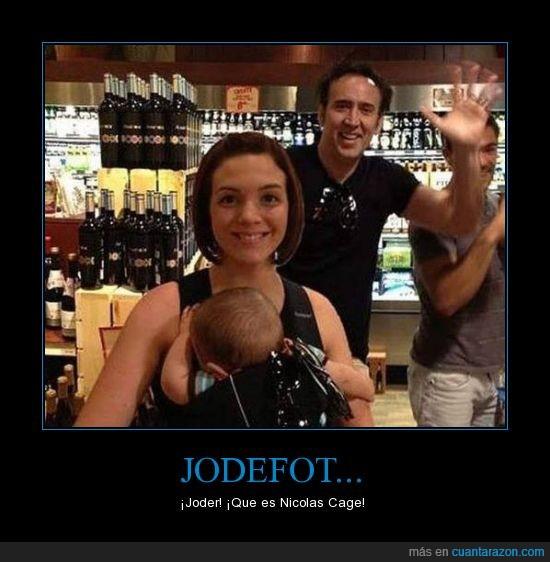 bebé,jode fotos,Nicolas Cage,saludo