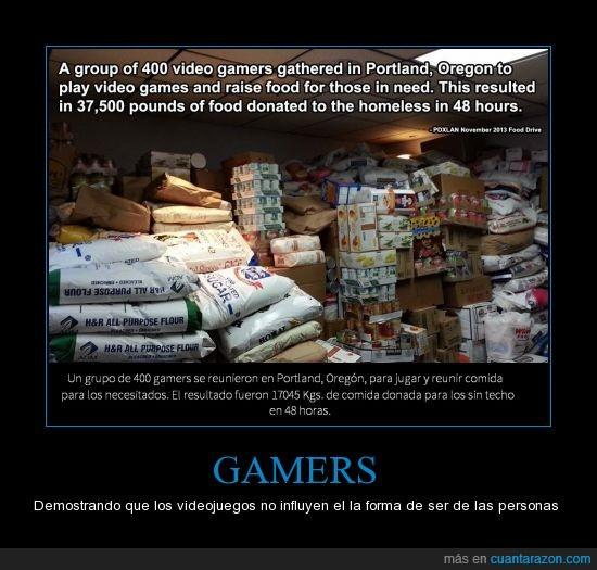 buenas acciones,comida,Gamers,PDXLAN,pobres,sin techo
