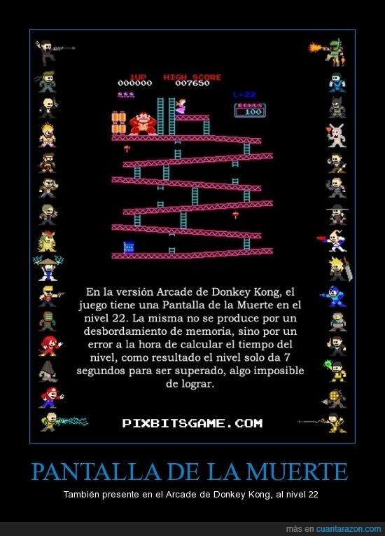 arcade,bug,donkey kong,fallo,glitch,pantalla de la muerte