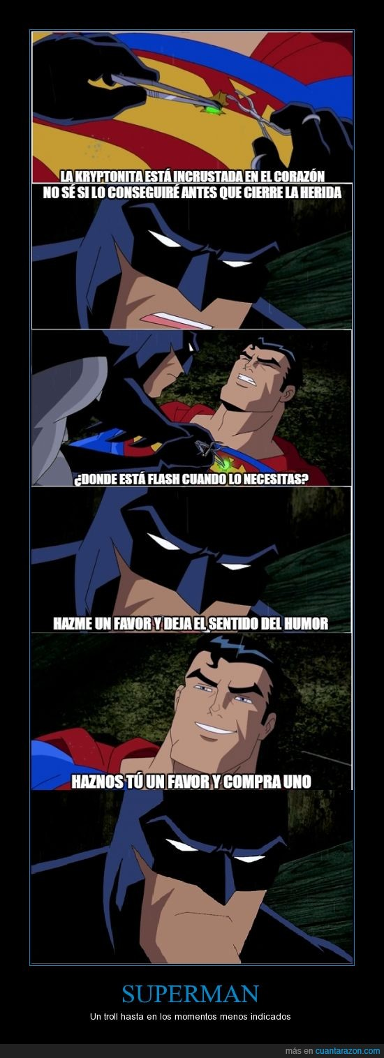 Batman,DC Comics,Herida,Kryptonita,Superman,Troll