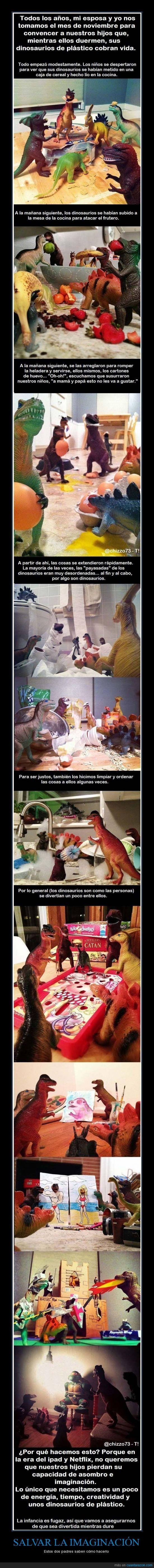 casa,dinosaurios,imaginación,ipad,muñecos,padres,salvar,tecnología