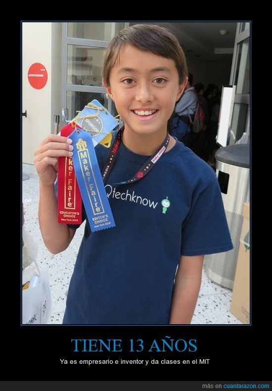 13 años,Chico prodigio,empresario,inventor,MIT
