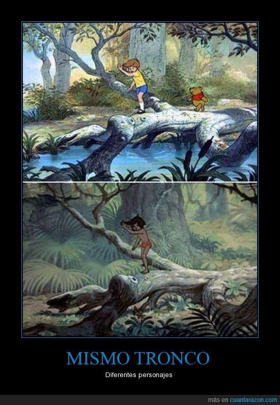 christopher robin,Disney,mowgli,reciclar,tronco,winnie pooh