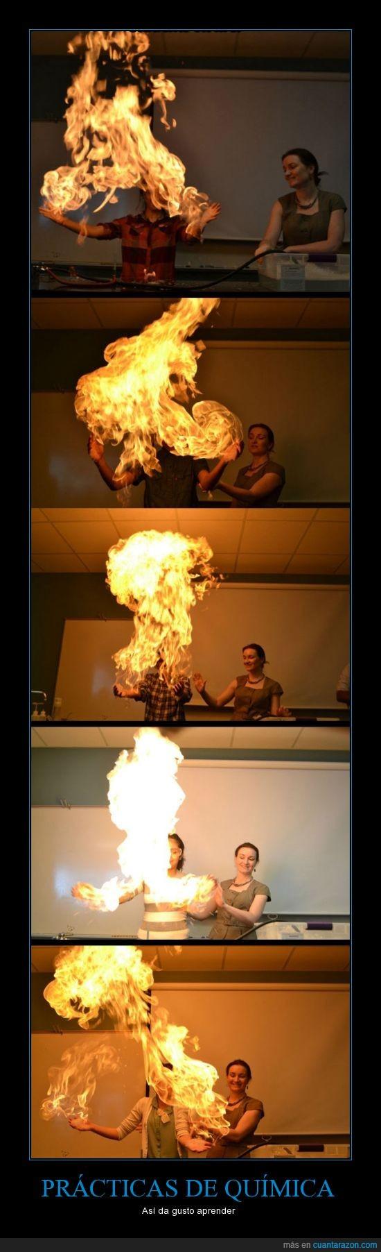 clase,fuego,incendio,laboratorio,profesora