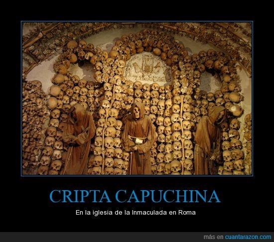 6 capillas llenas,cadaver,calaveras,esqueletos,flipante,huesos,muertos,Roma,Via Veneto 27