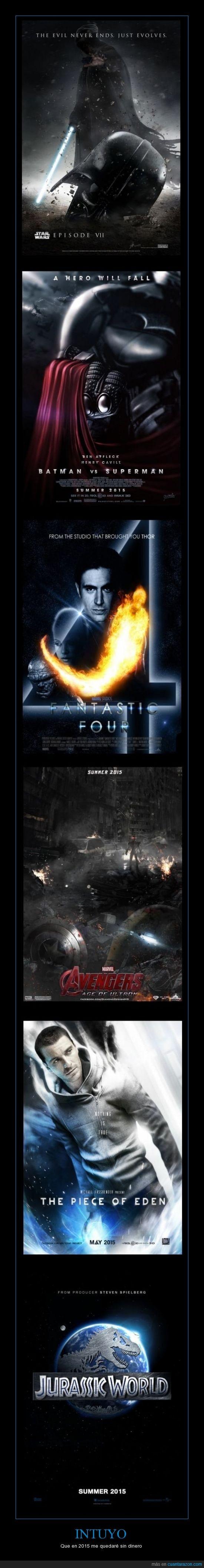 assassins creed,cine,fanart,fantastic 4,jurassic world,peliculas,star wars 7,superman vs batman,the avangers 2