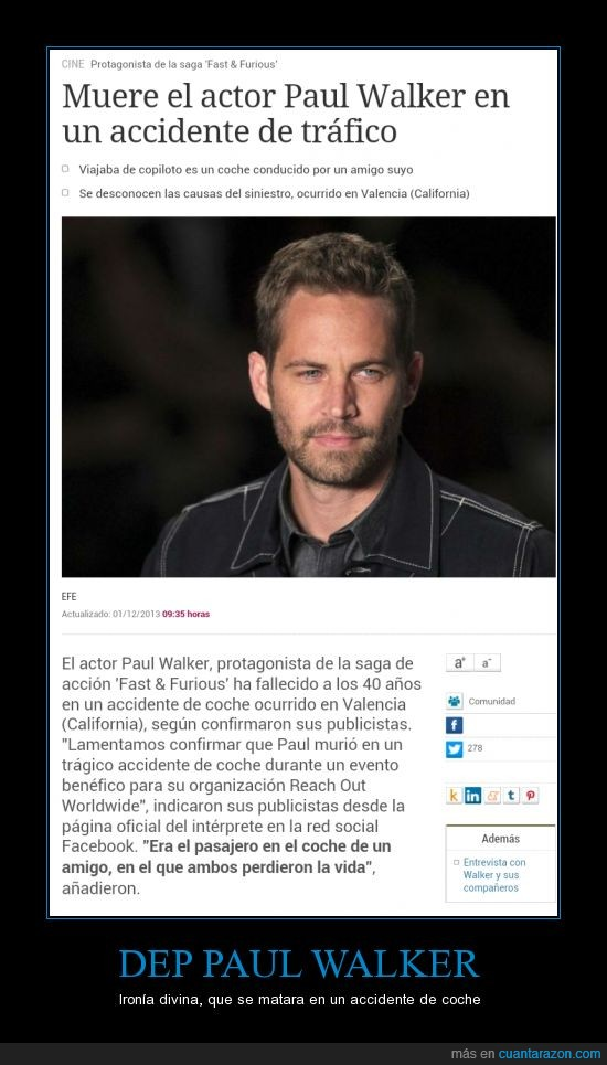 a todo gas,accidente,coche,dep,paul walker,rip