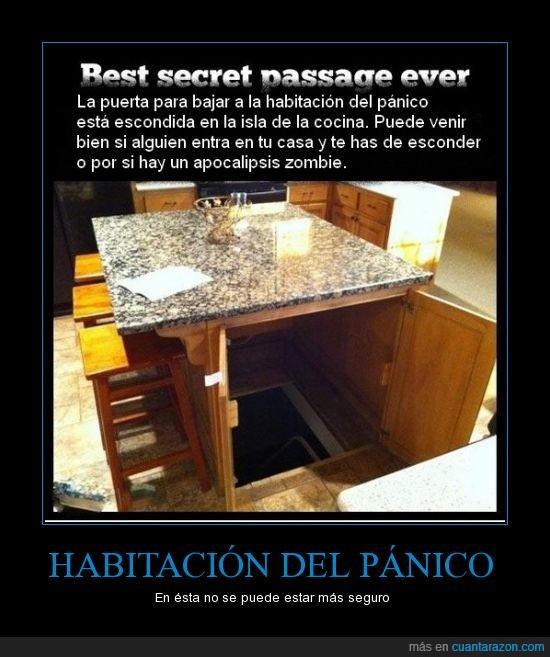 apocalipsis zombie,cocina,escaleras,esconderse,habitación del pánico,isla,ladrón,puerta,seguro,USA