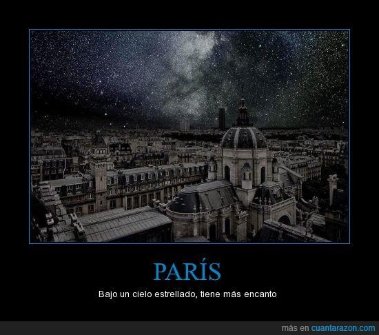 ciudad del amor,noche estrellada,París,sin contaminación lumínica