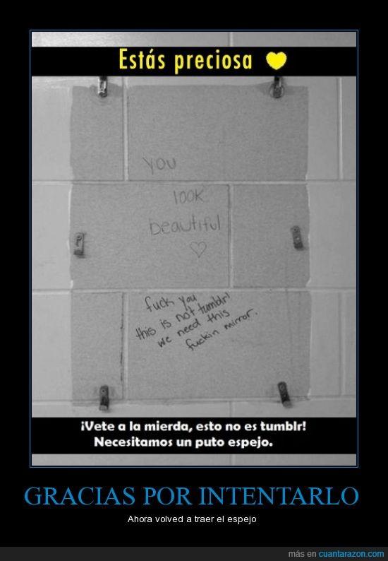 baño,espejo,gracias,hermosa,quiero peinarme para las fotos,tumblr,ver