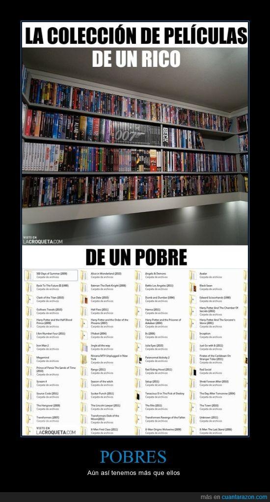 biblioteca,bluray,descarga,dvd's,original,peliculas,pirata,pobre,ricos