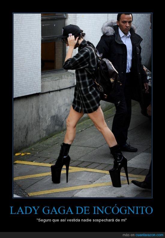Gaga,incógnito,Lady,maestra del camuflaje,tacones