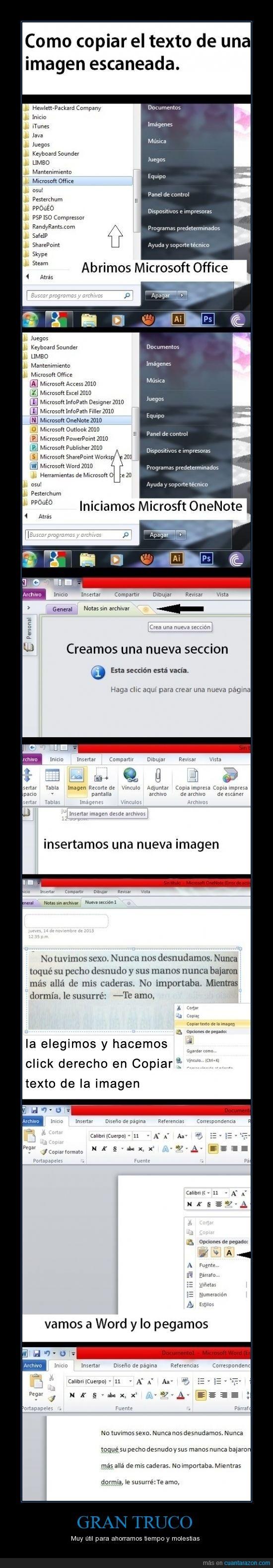 copiar texto,imagen,microsoft,one note,truco,word